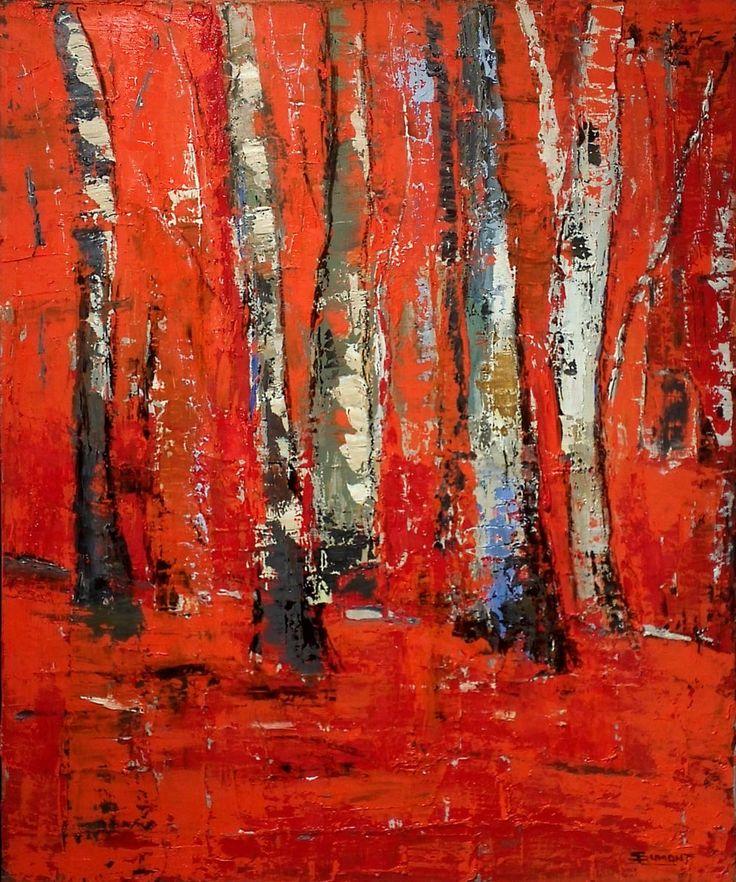 foret d'automne de l'artiste Sophie Dumont, peintre abstrait de Basse Normandie