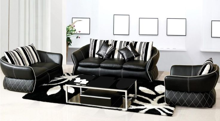 Adorable Black and White Leather Sofa for Living Room Design