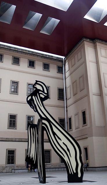 Roy Lichtenstein sculpture in the enclosed atrium at the Reina Sofia Museum in Madrid