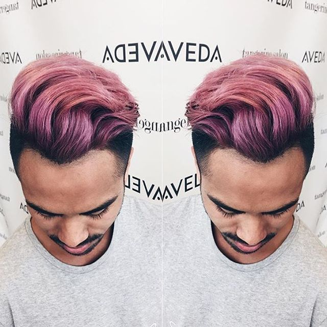 Pink Ombre Hair Color - Men's Haircut and Color - Aveda - Tangerine Salon