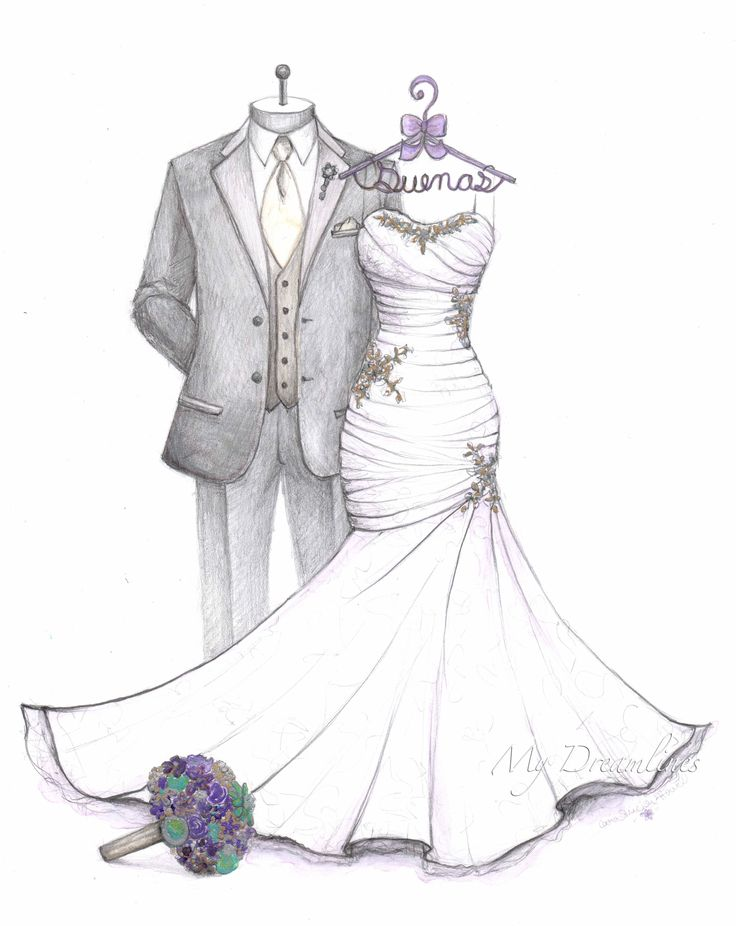 Satin Ruched Bodice Mermaid Wedding Dress Sketch With