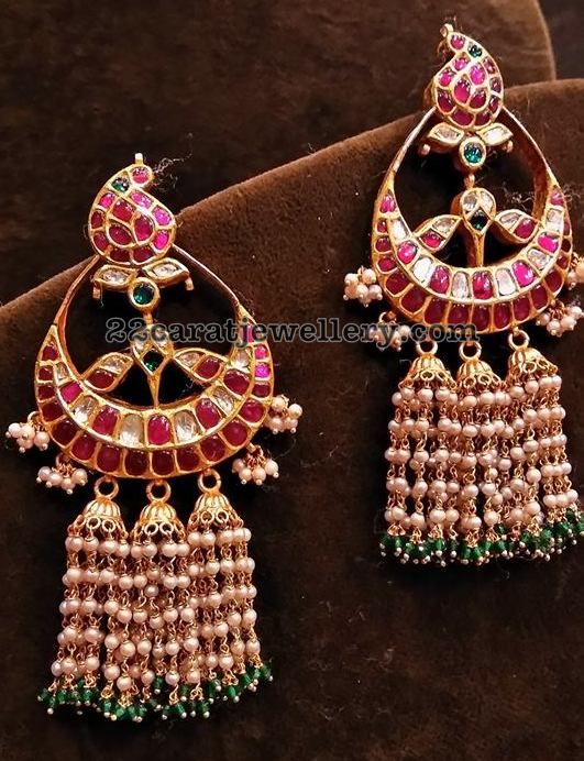 Peacock Jhumkas, Chandbalis and Pendant