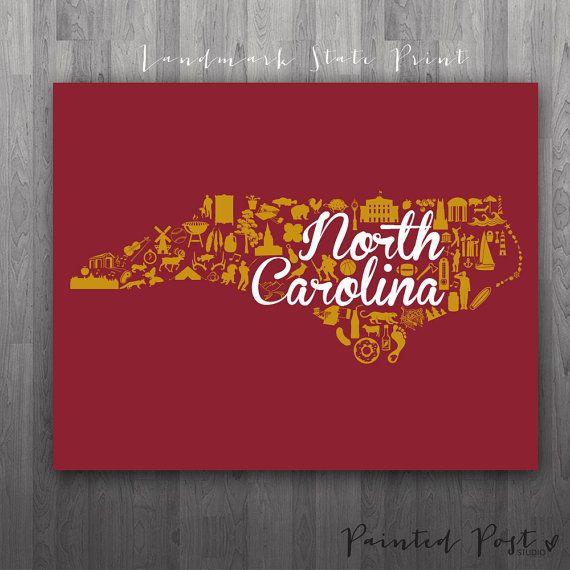 Elon North Carolina Landmark State Glicee Print By PaintedPost 1500 Paintedpoststudio