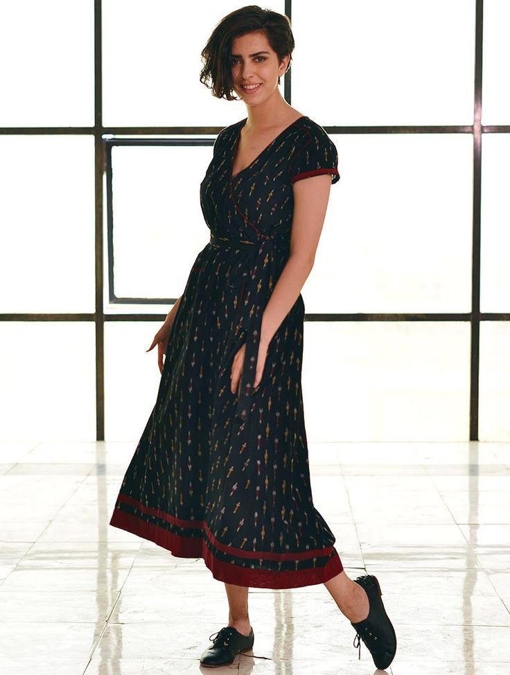 Buy Black Tie Up Waist Ikat Handloom Dress Cotton Apparel Tops & Dresses Whimsical Weaves Handwoven Online at Jaypore.com