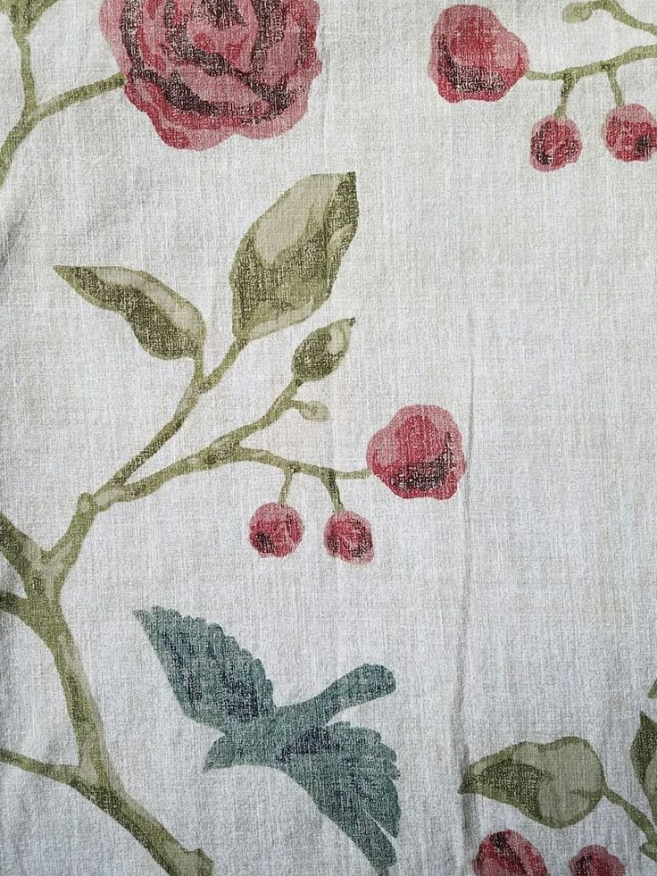 Threshold Blue Bird Shower Curtain Roses Red/Tan Cotton Nature Botanical Shabby  #Threshold #FrenchCountry
