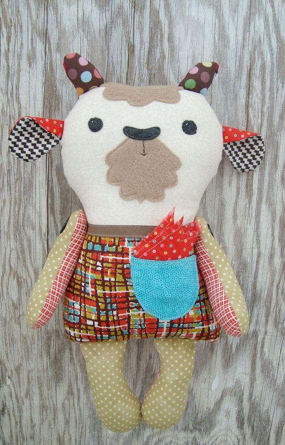 Goat Pattern Plush Stuffie Stuffed Animal Sew Simple