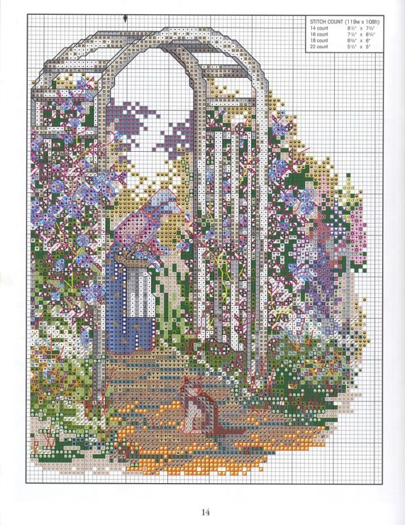 """Grandmother's Garden Of Love"" cross stitch pattern by Paula Vaughan.   Saved from elypetrova.gallery.ru"
