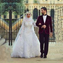 Arábia árabe gola alta vestido de casamento muçulmano mangas compridas duas - em - um destacável saia Vestidos de casamento Dubai vestido de noiva Vestidos(China (Mainland))