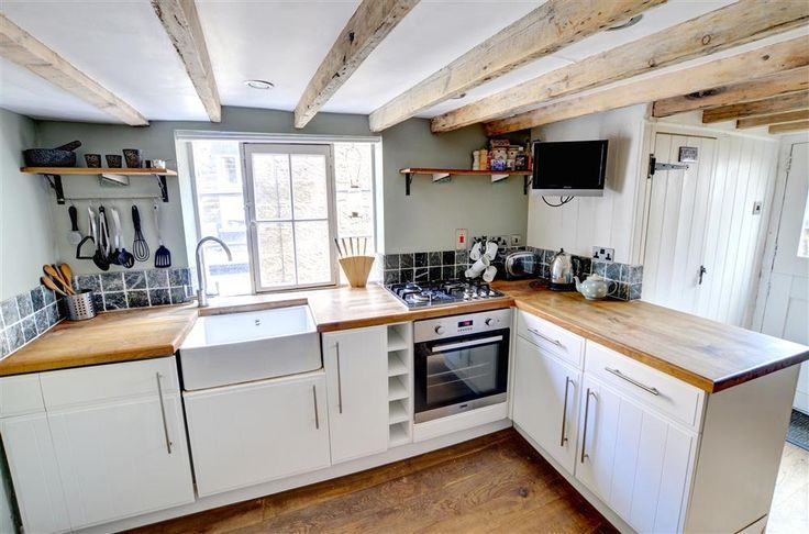 low ceiling stone walls cottage kitchens - Google Search