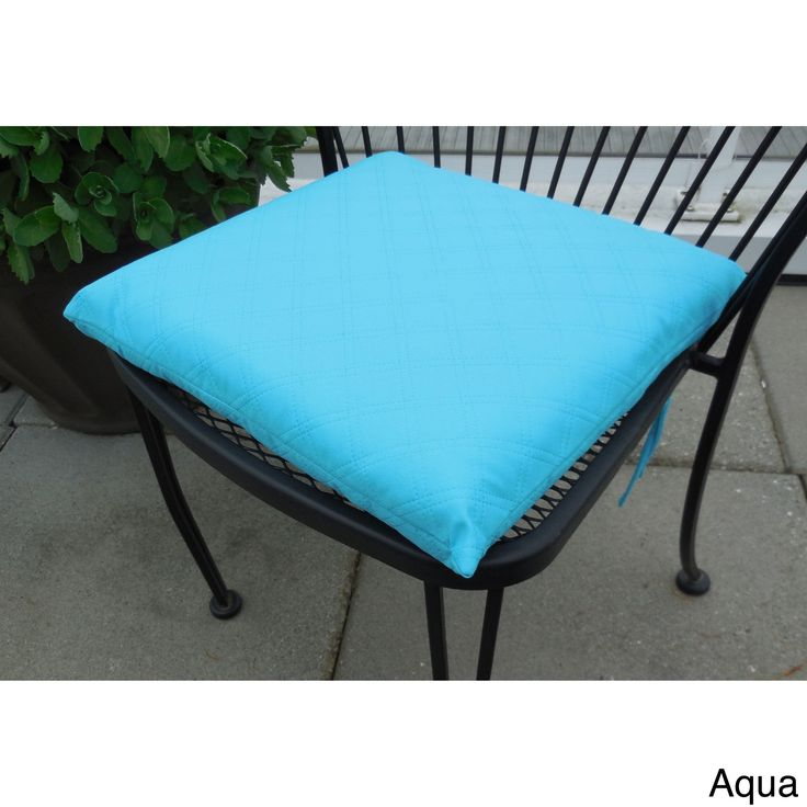 Edie Sonic Double Diamond Indoor/ Outdoor Chair Pad (Pack of 2) (Aqua), Blue (Polyester, Solid)