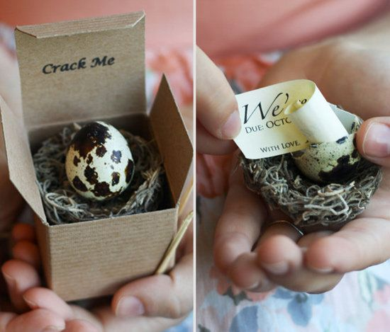With an egg: | 29 Awesome Ways To Tell Everyone You're Preggers