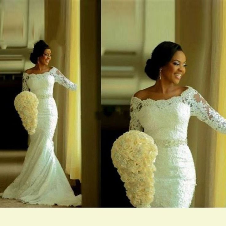 Mermaid African Wedding Dress Three Quarter Sleeves ...