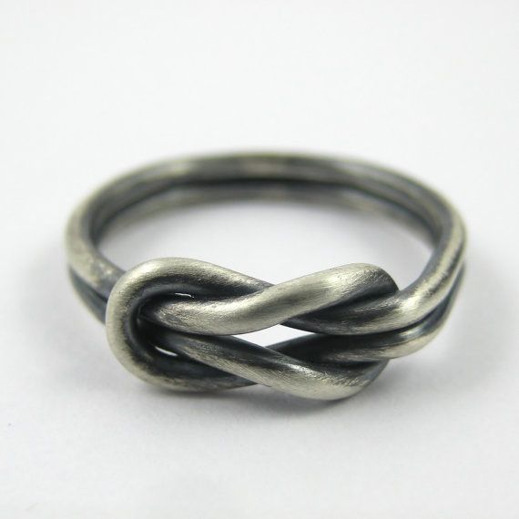 Chunky Silver Infinity Ring Love Knot Ring Reef by PuranaJewellery