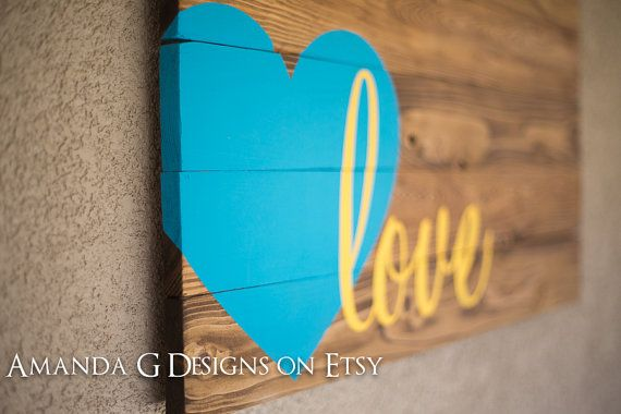 Love hand painted wood sign with wraparound by AmandaGdesigns, $75.00