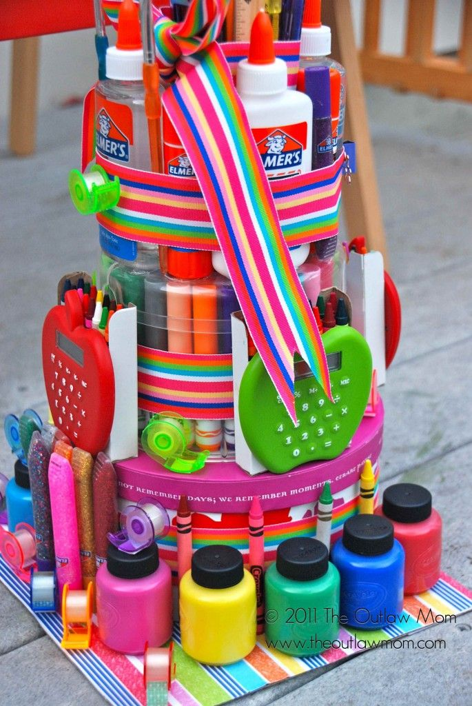 Yet another take on a clever cake - this time created from school art supplies. #gluenglitter