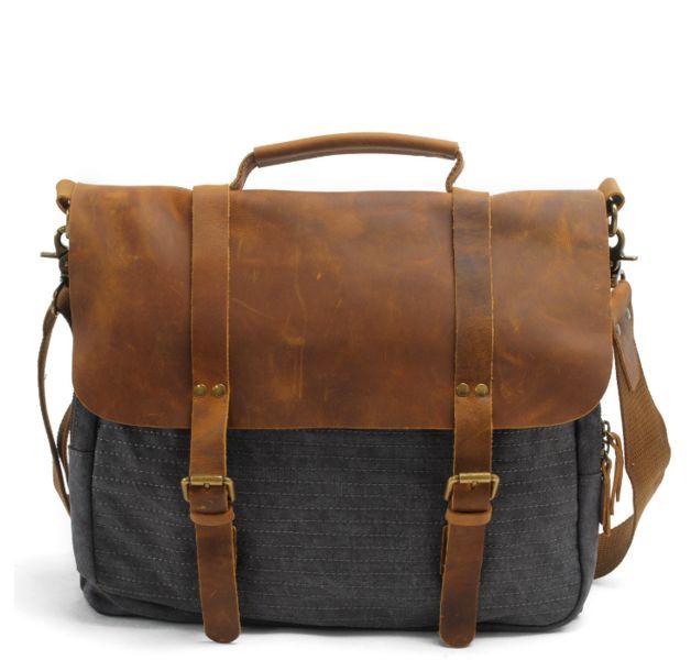 Diese tasche ist aus leder und segeltuch.Mode vintage-design, gut genähte handwerkskunst.Diese tasche ist die gute wahl für business, reisen und alltag.Sie können die umhängetasche zu arbeiten und...