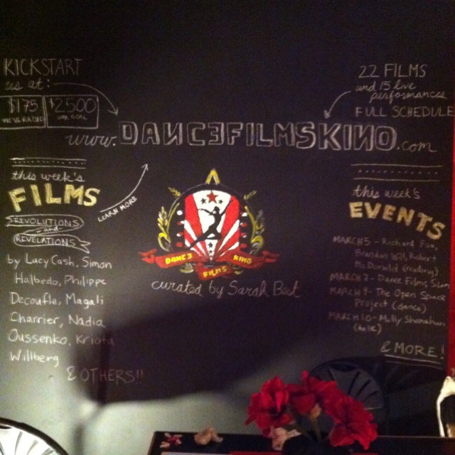 The chalkboard program wall for Dance Films Kino, http://www.dancefilmskino.com