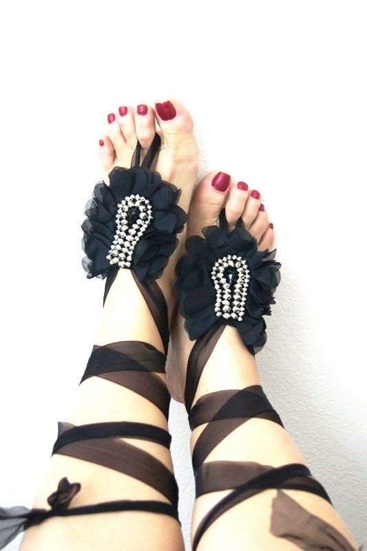 Gothic Black ribbon rhinestone Beach wedding barefoot sandals, Toe thong Bottomless shoes, Foot jewelry, Wedding Shoes, bellydance