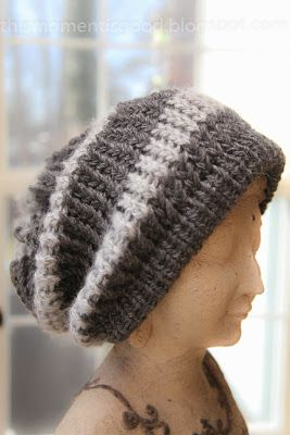 LOOM KNIT STRIPED SLOUCH HAT PATTERN. So Cute! #freeloomknittingpatterns
