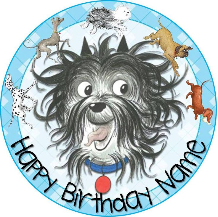 EDIBLE Hairy Maclary Wafer Cake Topper Birthday Party personalized round 19cm