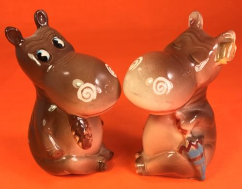 CUTE-Norcrest-Hippo-Salt-and-Pepper-Shakers-Estate-Vintage-Anthropomorphic-1950s