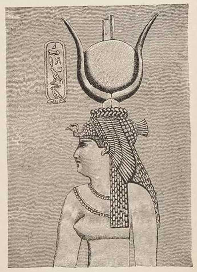 An 1884 drawing of an image of Cleopatra depicted in the ruins of Egypt's Dendera temple complex.
