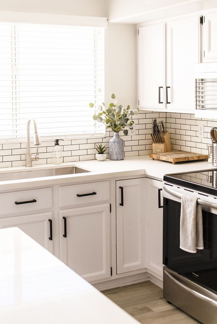 All White Kitchen White Subway Tile With Dark Grout Is My