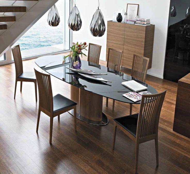 Ekskluzywny owalny szklany stół włoski do nowoczesnej jadalni, także doskonały jako stół konferencyjny