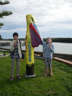 Shu, Ruby and Pelican Bollard Tooradin: This is our first time playing at being a Host Family for a young Japanese Student, Shu.  He is staying with us for 12 nights so this weekend we decided