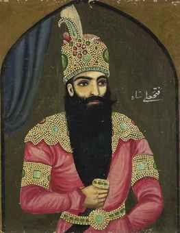 [paisley motif robe & crown] A PORTRAIT OF FATH ALI SHAH QAJAR  QAJAR IRAN, LATE 19TH/EARLY 20TH CENTURY