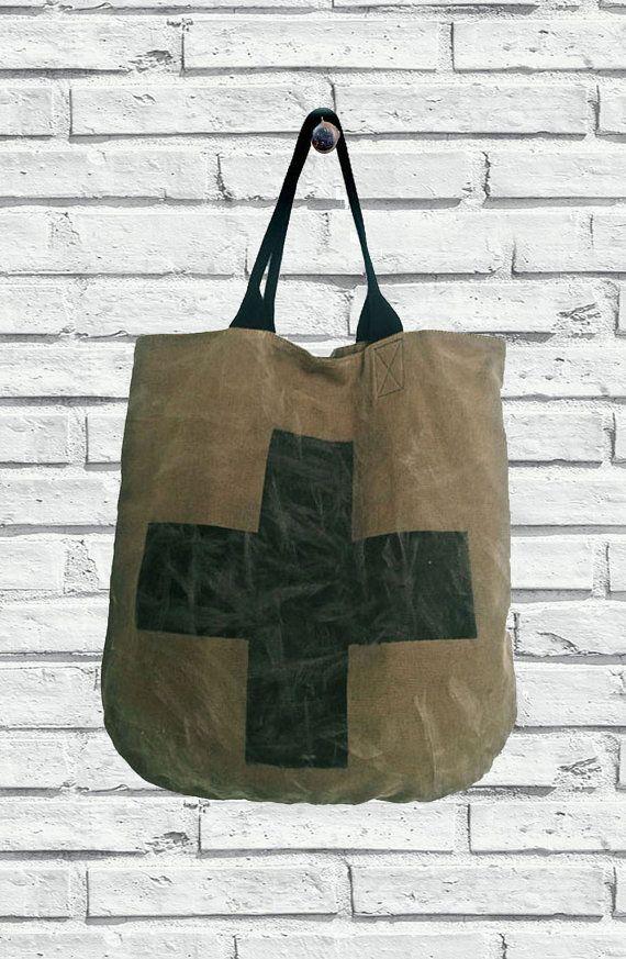 Borsa di Canvas con Croce Stampata Tote Bag di di ZenZerodesignes