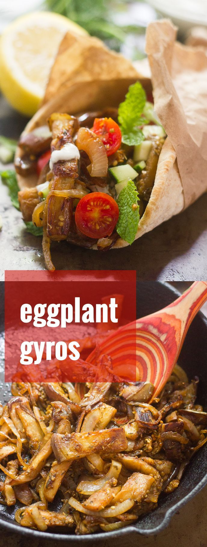These vegan eggplant gyros are made with savory pan-fried strips of seasoned eggplant, wrapped up in warp pita bread with creamy dairy-free tzatziki.