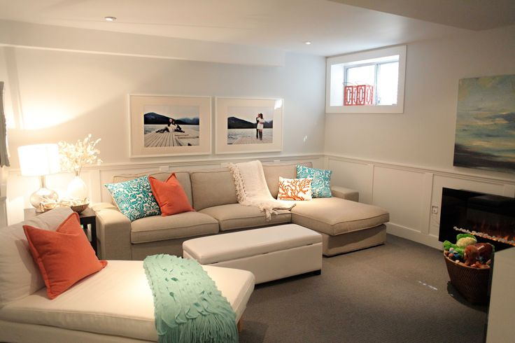 beach house in the city: room tour: basement family room!Wall color is Benjamin moore's silver satin