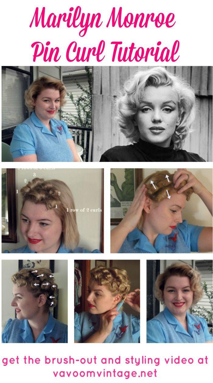 marilyn monroe pin curl hair tutorial by VaVoomVintage.net