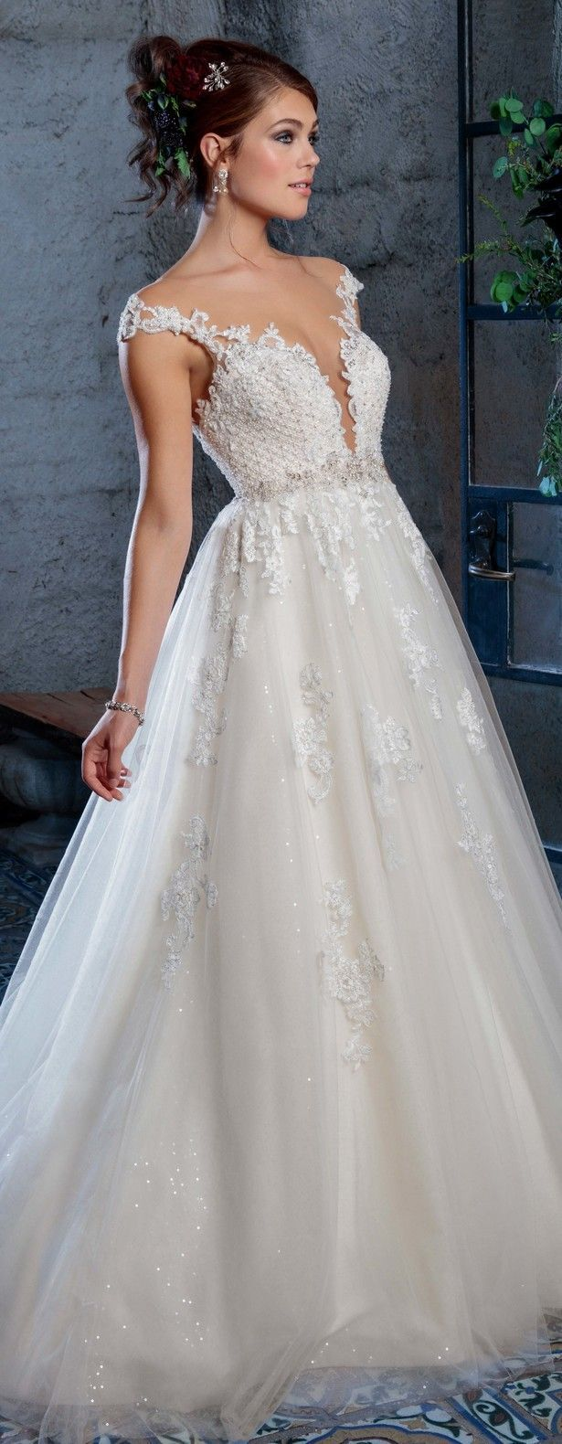 Lace over tulle wedding dress january 2019  best Ślub images on Pinterest  Homecoming dresses straps