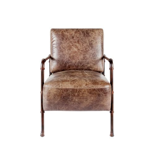 industrial leather chair found it at wayfair linvingston lounge chair