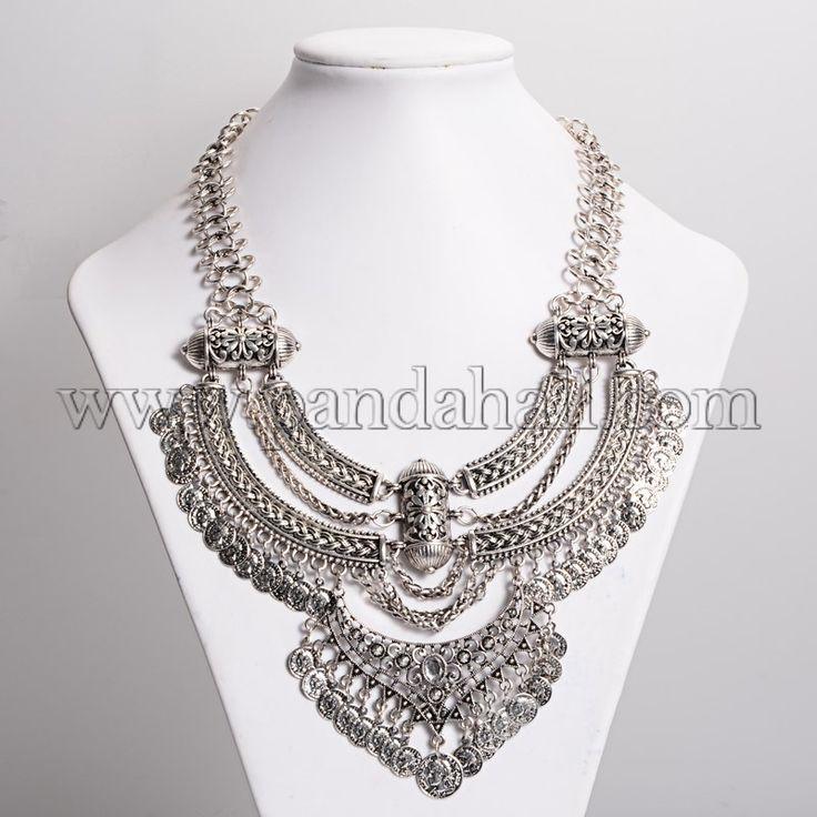 """Старинные большие ожерелья заявление, Монета нагрудник ожерелье, античное серебро, 16.92"""" оптом - Ru.Pandahall.com"""