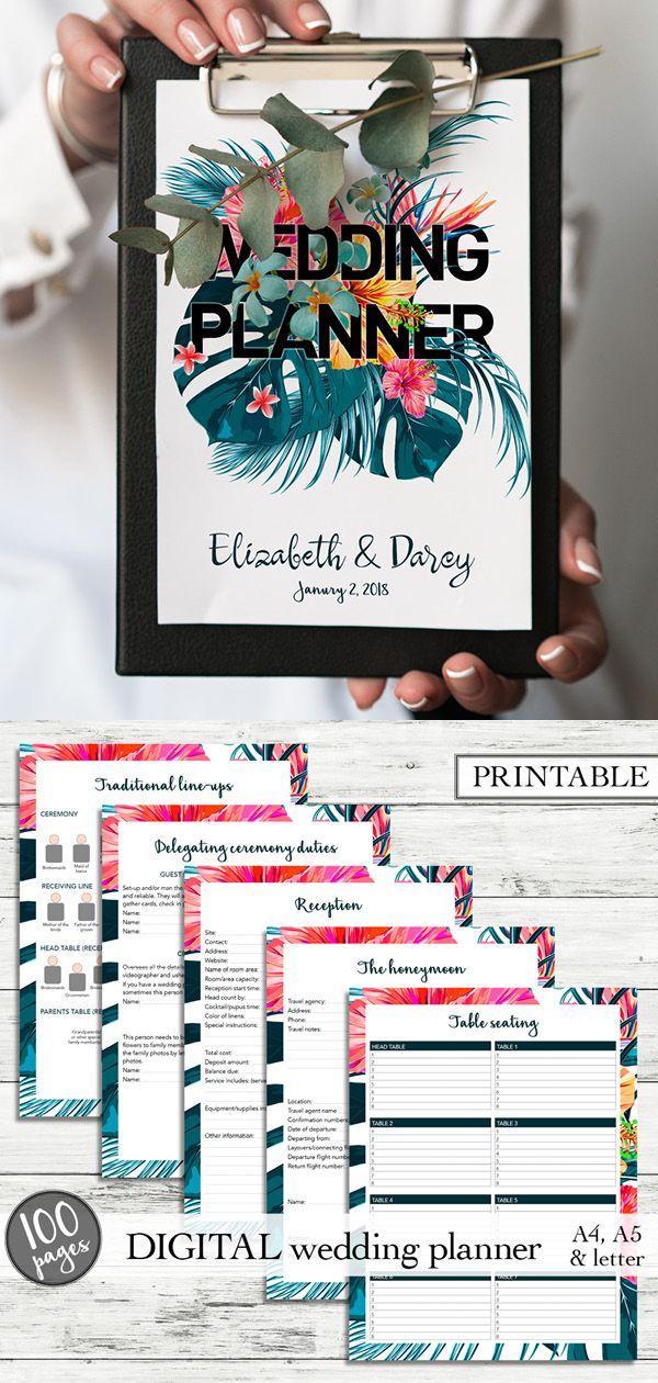 Printable wedding planner, Jungle wedding binder, Printable wedd