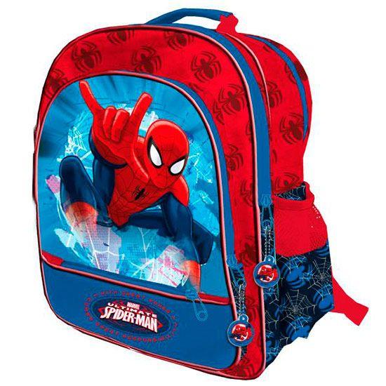 Disney Marvel SpidermanSpindelmannen Ryggsäck Skolväska  3st Fack(2st Stor+ 1st liten), Dragkedja, Justerbara Remmar, Flskhållare (2st) Mått : 41x34x18,5cm Rek. ålder:ca 6+ år  Officiellt Licensierad Disney/Marvel Produkt