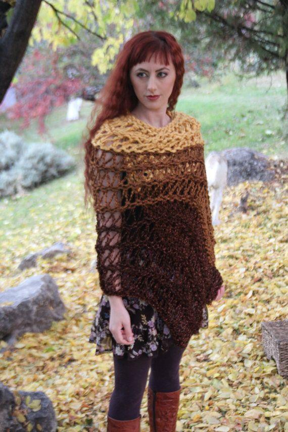 Chunky Knit Shawl Wrap BOHO Shawl Wrap hand knit by TheKnitBeyond