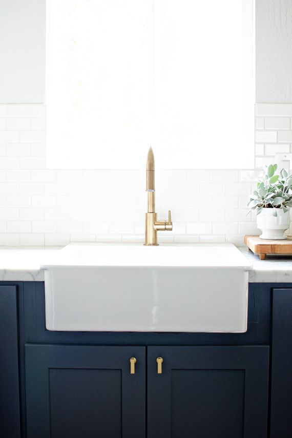 Brass Hardware: navy, white & brass kitchen // brittanyMakes Kitchen Reveal - obsessed with farmhouse sinks, it seems.