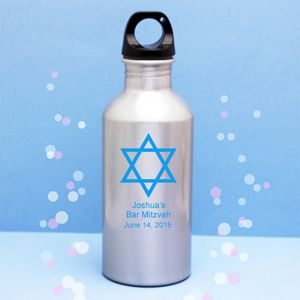 Bar Mitzvah Personalized Metal Water Bottle - Bar Mitzvah & Bat Mitzvah Party Favors - Other Occasions - Wedding Favors & Party Supplies - Favors and Flowers