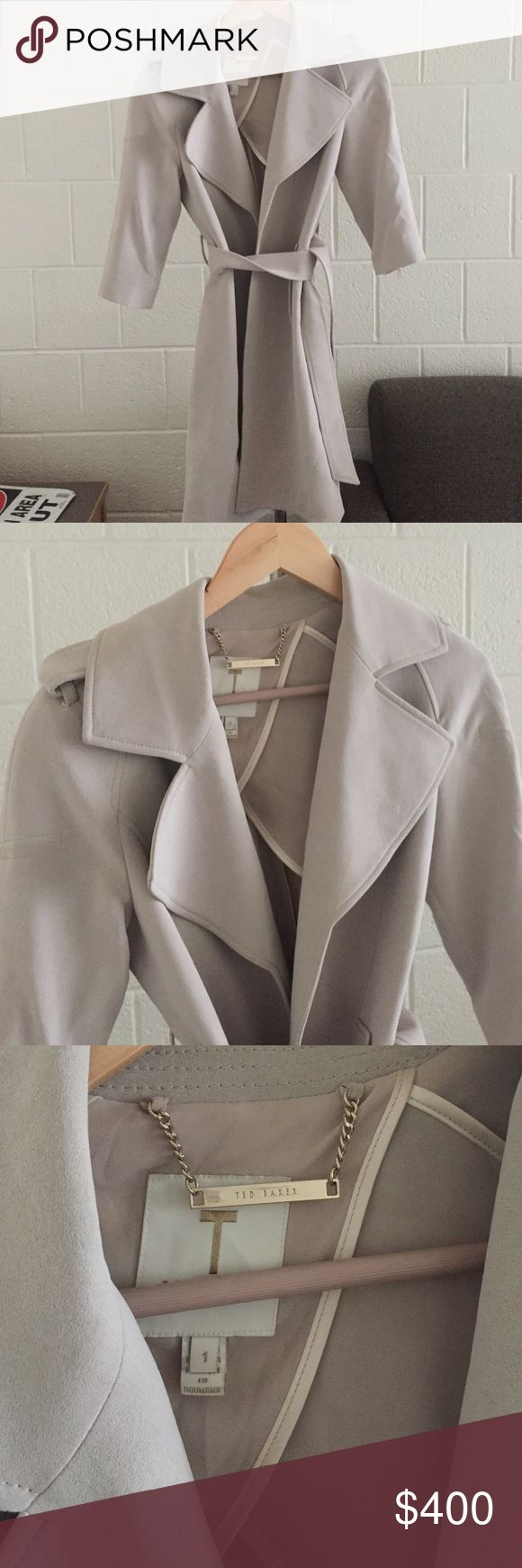 TED BAKER TRENCH Super chic and lovely. Worn only twice. Grey and fits a size 1 Baker by Ted Baker Jackets & Coats
