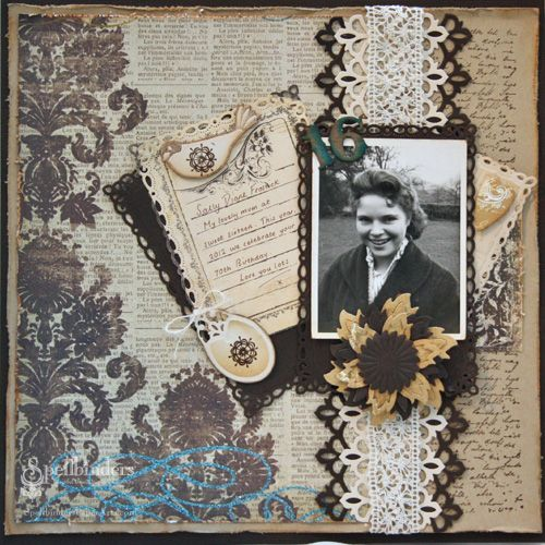 Sweet Sixteen...this beautifully distressed page features a floral pattern that's stamped over newsprint for a vintage look. Layers of rectangles create a lovely photo mat and journaling block. A gorgeous lace band draws the eye to the photo...so pretty.