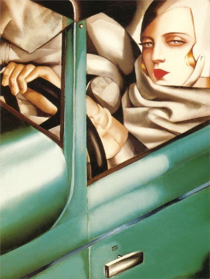 Tamara de Lempicka: Selfportrait, Oil Paintings, Tamaradelempicka, Green Bugatti, Self Portraits, Tamara De Lempicka, Artdeco, Art Deco, Bugatti 1925
