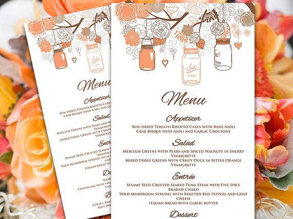 Mason Jar Menu Card Microsoft Word Template Coral Peach Orange - microsoft word menu templates