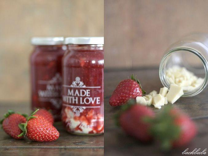 Erdbeermarmelade mit weißer Schokolade - Zubereitung - backbube.com