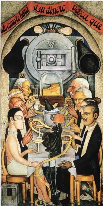 Diego Rivera - Banquete de Wall Street 1928. ared norte, Patio de Las Fiestas, Secretaría de Educación Pública, Ciudad de México. 1928.