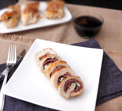 From Cooking & Beer, Italian-stuffed chicken breast with balsamic vinegar sauce.