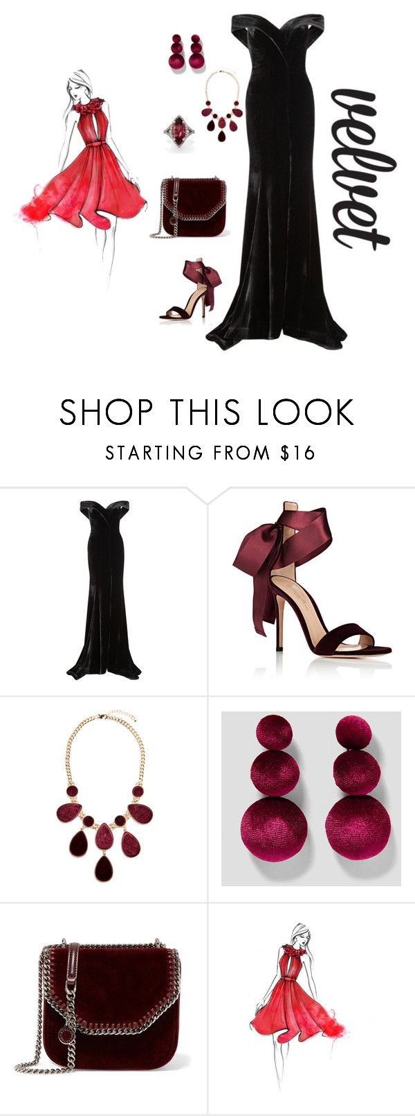 """velvet"" by things-fo4-your-head ❤ liked on Polyvore featuring Rachel Gilbert, Gianvito Rossi, GUESS by Marciano and STELLA McCARTNEY"